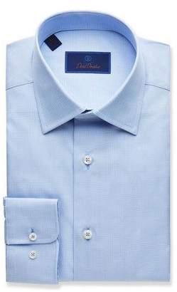 David Donahue Men's Regular-Fit Tonal Plaid Dress Shirt, Blue