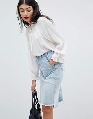 Pepe Jeans Denim Midi Skirt with Raw Hem