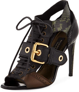 Burberry Mixed Media Buckle Sandals, Green