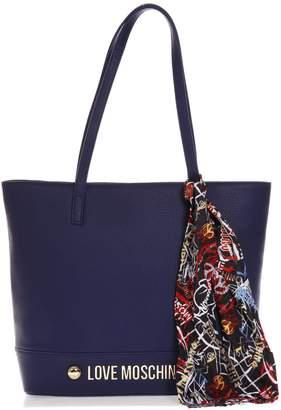 Love Moschino Blue Handbag With Scarf Detail