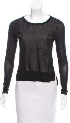 Elizabeth and James Leather-Accented Knit Sweater