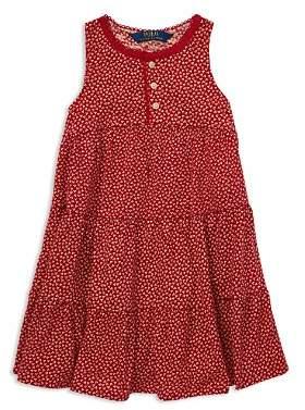 Ralph Lauren Girls' Tiered Floral Cotton Dress - Little Kid