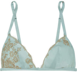 Carine Gilson Chantilly Lace-trimmed Silk-satin Soft-cup Triangle Bra - Sky blue