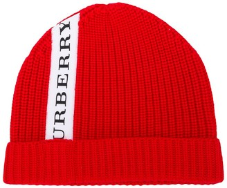 Burberry logo stripe knitted beanie