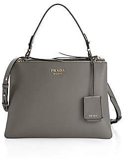 Prada Women's Large Deux Leather Top Handle Tote
