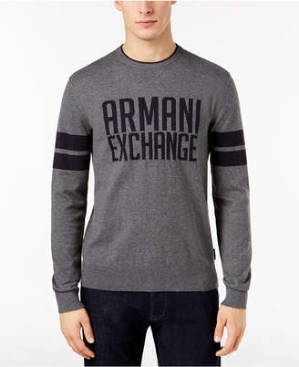 Armani Exchange Men's Striped-Sleeve Logo Sweater