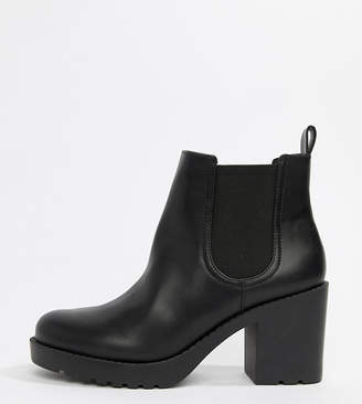 Monki faux leather cleated sole heeled ankle boots in black