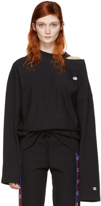 Vetements Black Champion Edition Cut Out Neckline Pullover $740 thestylecure.com