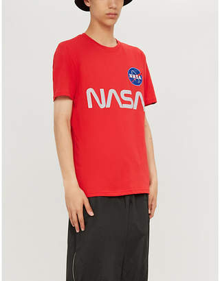Alpha Industries Reflective NASA-print cotton-jersey T-shirt