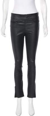 Kaufman Franco Kaufmanfranco Leather-Accented Mid-Rise Leggings w/ Tags