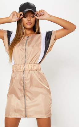PrettyLittleThing Stone Zip Front Shell Shift Dress