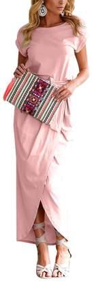 OMZIN Women's Solid Color Crewneck Irregular Bow Belt Maxi Dress Light Grey,XS