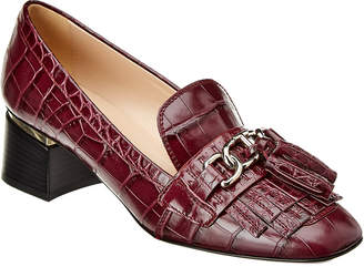 Tod's Chunky Chain Embossed Leather Pump