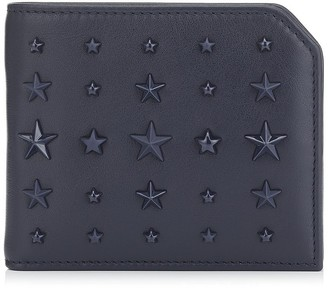 Jimmy Choo ALBANY Navy Leather Bi-Fold Wallet with Mixed Stars