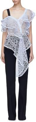 Self-Portrait Asymmetric ruffle one-shoulder floral guipure lace top