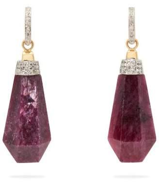 Jade Jagger Never Ending Ruby Diamond Drop Earrings - Womens - Pink