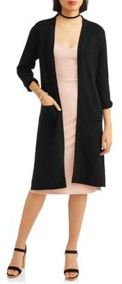 No Comment Juniors' Lace-Up Back Long Sleeve Cardigan Duster