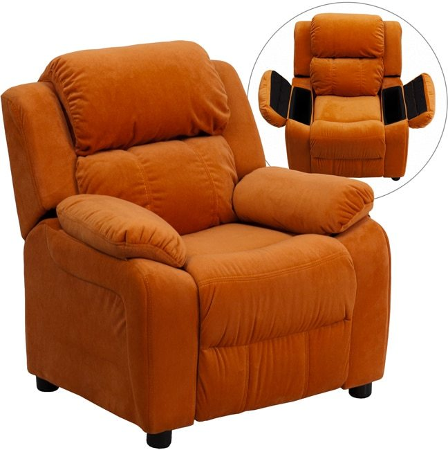 Flash Furniture Deluxe Heavily Padded Contemporary Orange Microfiber Kids Recliner with Storage Arms
