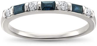 MODERN BRIDE Modern Bride Gemstone Womens 2mm 1/3 CT. T.W. Blue Sapphire 14K White Gold Wedding Band