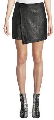 Joie Orlanda Draped Studded Lamb Leather Skirt