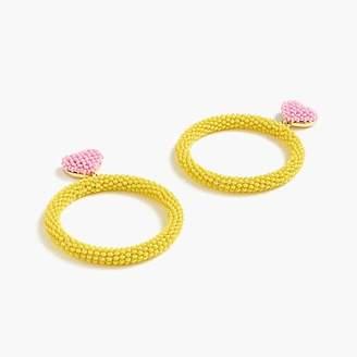 Alison Lou X J.Crew beaded heart drop-hoop earrings