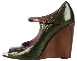 Derek Lam Patent Leather Wedges Green Patent Leather Wedges