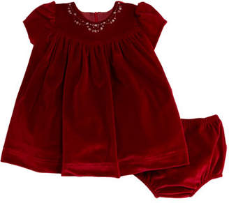 Luli & Me Embroidered Velvet Dress w/ Bloomers, Size 12-24 Months
