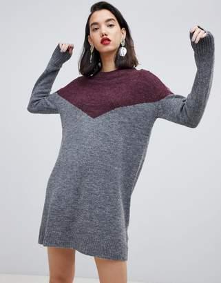 Vero Moda color block knitted mini dress in gray