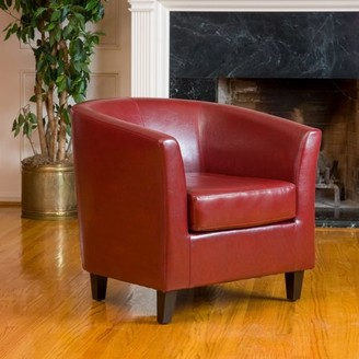 Noble House Red Bonded Leather Tub Club Chair