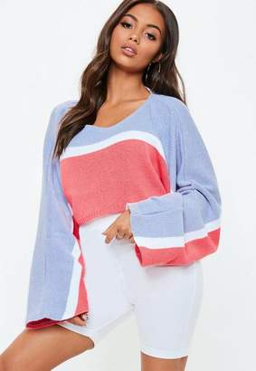 Missguided Lilac Striped Batwing Crop Sweater