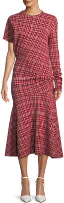 Calvin Klein Long-Sleeve Asymmetric Plaid Midi Dress w\/ Flounce Hem
