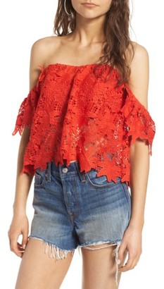 Women's Astr The Label Adela Off The Shoulder Lace Top $98 thestylecure.com