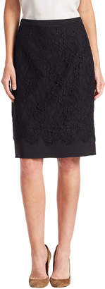 Oscar de la Renta Lace Embroidered Skirt