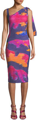 Chiara Boni Fizzah Sleeveless Asymmetric Batik-Print Body-Con Dress w/ Draped Shoulder