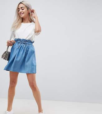 Asos DESIGN Petite denim paperbag skirt in midwash blue