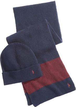 Polo Ralph Lauren Men's Rugby-Stripe Beanie & Scarf Set