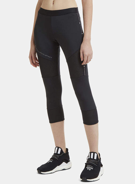Essential Cropped Mesh Panel Training Pants in Black