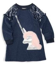 Little Girl's Faux Fur Sequin Sweater