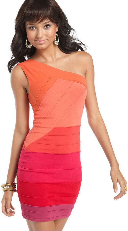 Baby Phat Dress, Sleeveless One Shoulder Colorblock Bandage