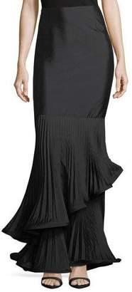 Rickie Freeman For Teri Jon Taffeta Long Skirt w/ Pleated Ruffle Trim