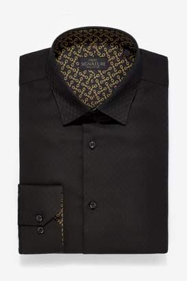 Next Mens Black Regular Fit Single Cuff Trim Detail Signature Shirt - Black