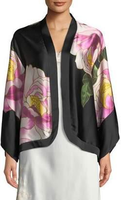 Josie Natori Clair de Lune Silk Kimono Lounge Jacket