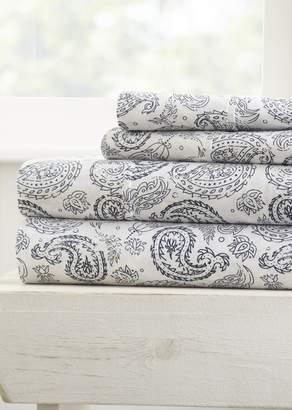 IENJOY HOME Home Spun Premium Ultra Soft Coarse Paisley Pattern 3-Piece Twin Bed Sheet Set - Navy