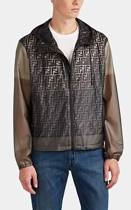Fendi Men's Logo Semi-Sheer Hooded Jacket - Gray