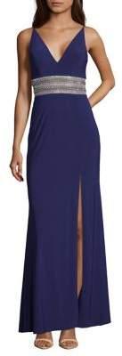 Xscape Evenings Embellished Leg Slit Evening Gown