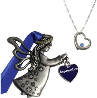 Gloria Duchin September Birthstone Angel Ornament and Necklace Set