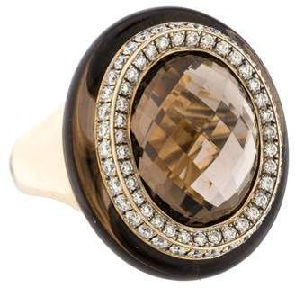Ring 18K Smoky Quartz & Diamond