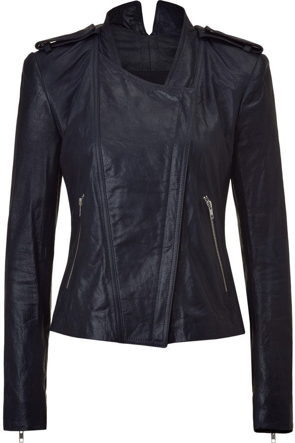 Theyskens Theory Marine Silk-Lined Leather Jacket