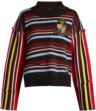 J.W.Anderson Deconstructed striped collegiate sweater