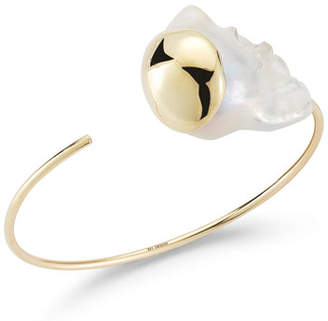 Mizuki Fluid Baroque Pearl Open Cuff Bracelet in 14K Gold